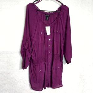 Lane Bryant Purple Tunic Top Button Plus Sz 18/20